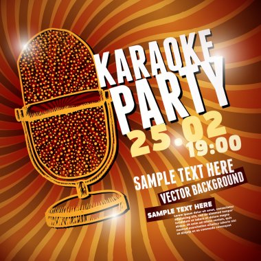 Banner with retro microphone for karaoke parties