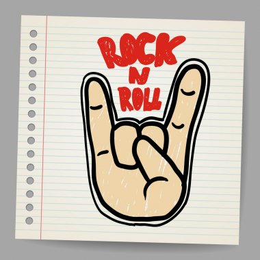 Doodle rock and roll sign vector