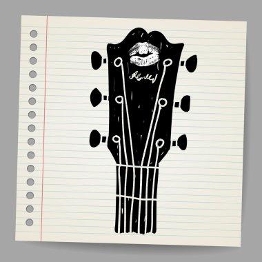 Vector sketch of an acoustic guitar neck