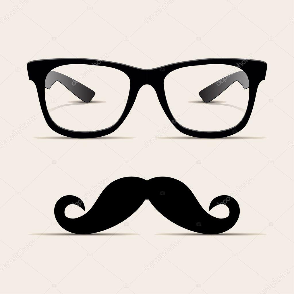 Hipster glasses, Hipsta man. Vector