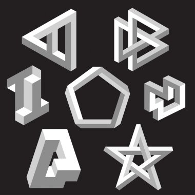Optical illusion symbols. Vector illustration.