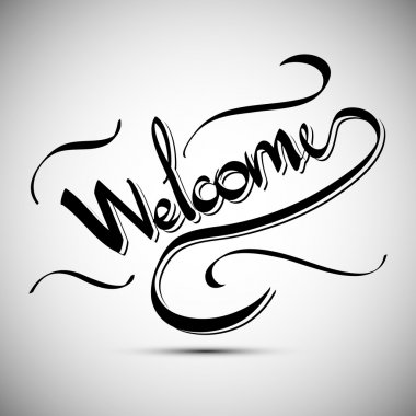Welcome greetings hand lettering set (vector)