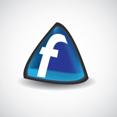 Facebook triangle icon vector