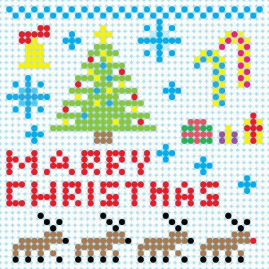 Vector Christmas pixel art card