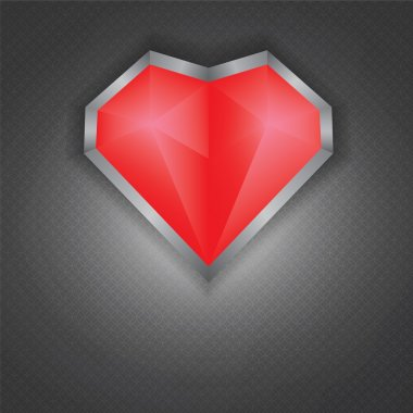Glossy red heart on a metal plate texture background
