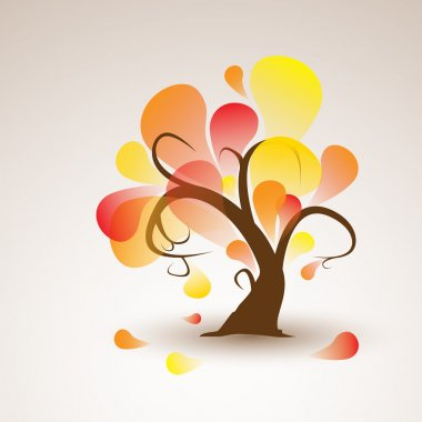 funny vector autumn tree with falling leafs