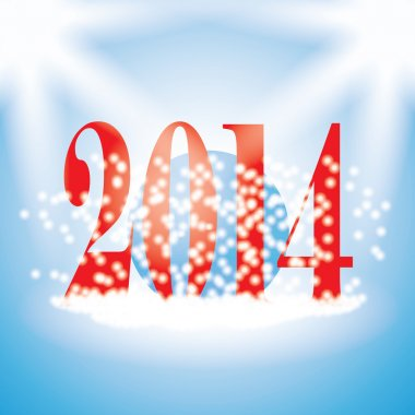 2014 new years illustration with snowflakes on blue background