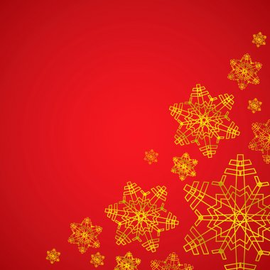 Winter red and golden christmas background texture with snowflakes
