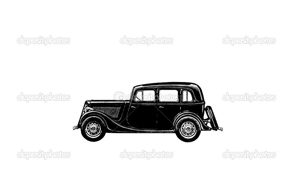 silhouette d 39 une vieille voiture photographie kingan77 13982363. Black Bedroom Furniture Sets. Home Design Ideas