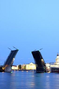 Drawbridge in St. Petersburg at white night