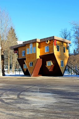 Upside down house in the Russian Exhibition Center in Moscow