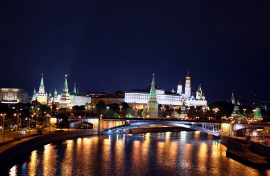 Moscow city landscape at night