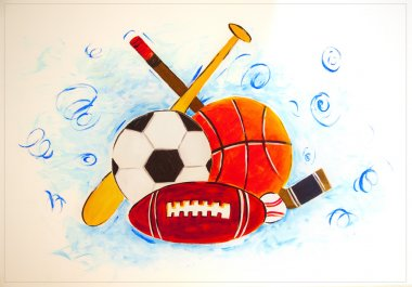 Sports Gear on a wall tile