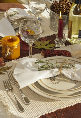 Harvest table setting, oranges, yellows, golds, and browns