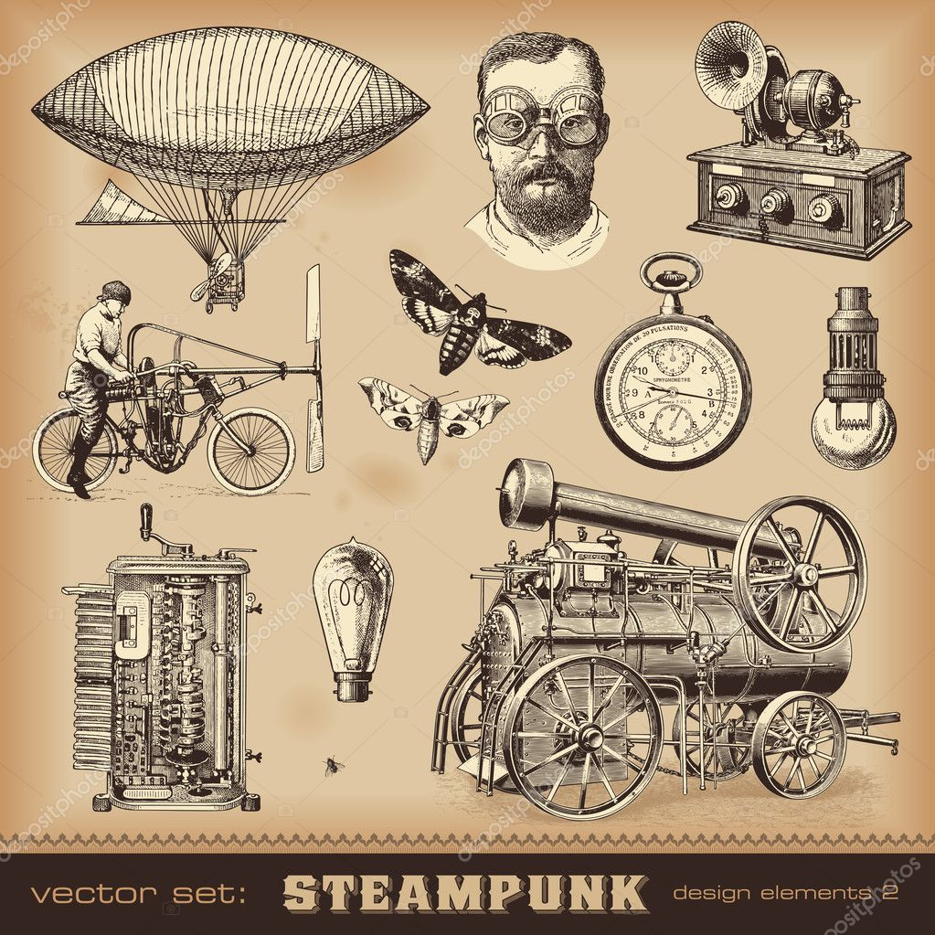 Steampunk design elements stock vector studio accanto for What is steampunk design