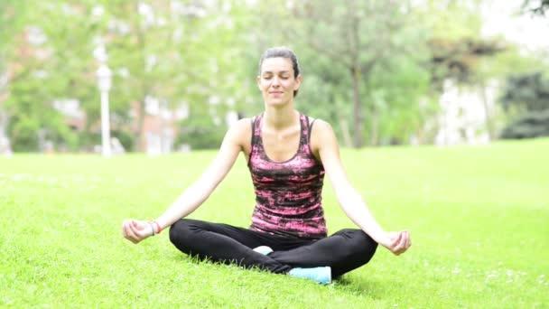 fiatal gyönyörű nő gyakorlatok jóga a parkban.