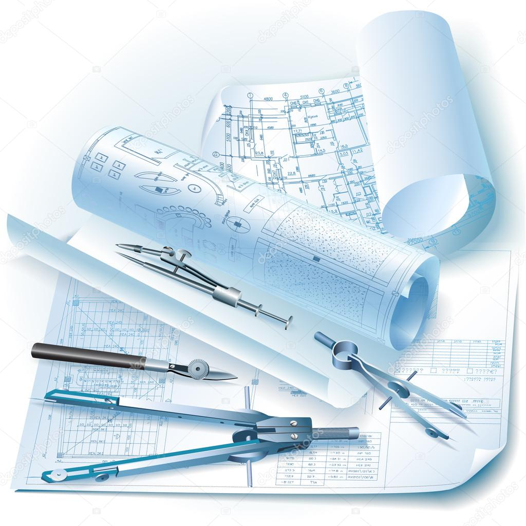 Architectural background with rolls of drawings and for Online architect drawing tool free