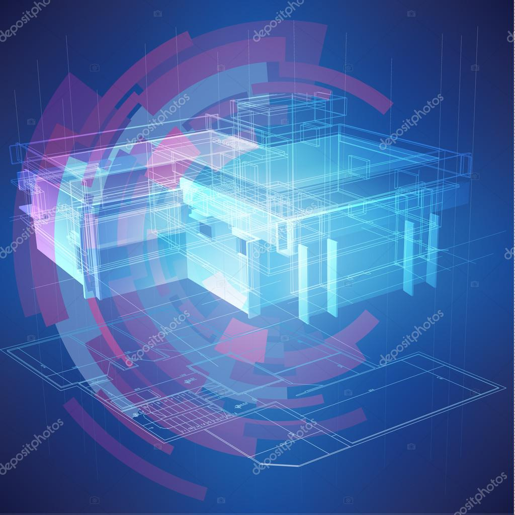 Urban blueprint with a 3d building model stock vector urban blueprint with a 3d building model stock vector malvernweather Choice Image