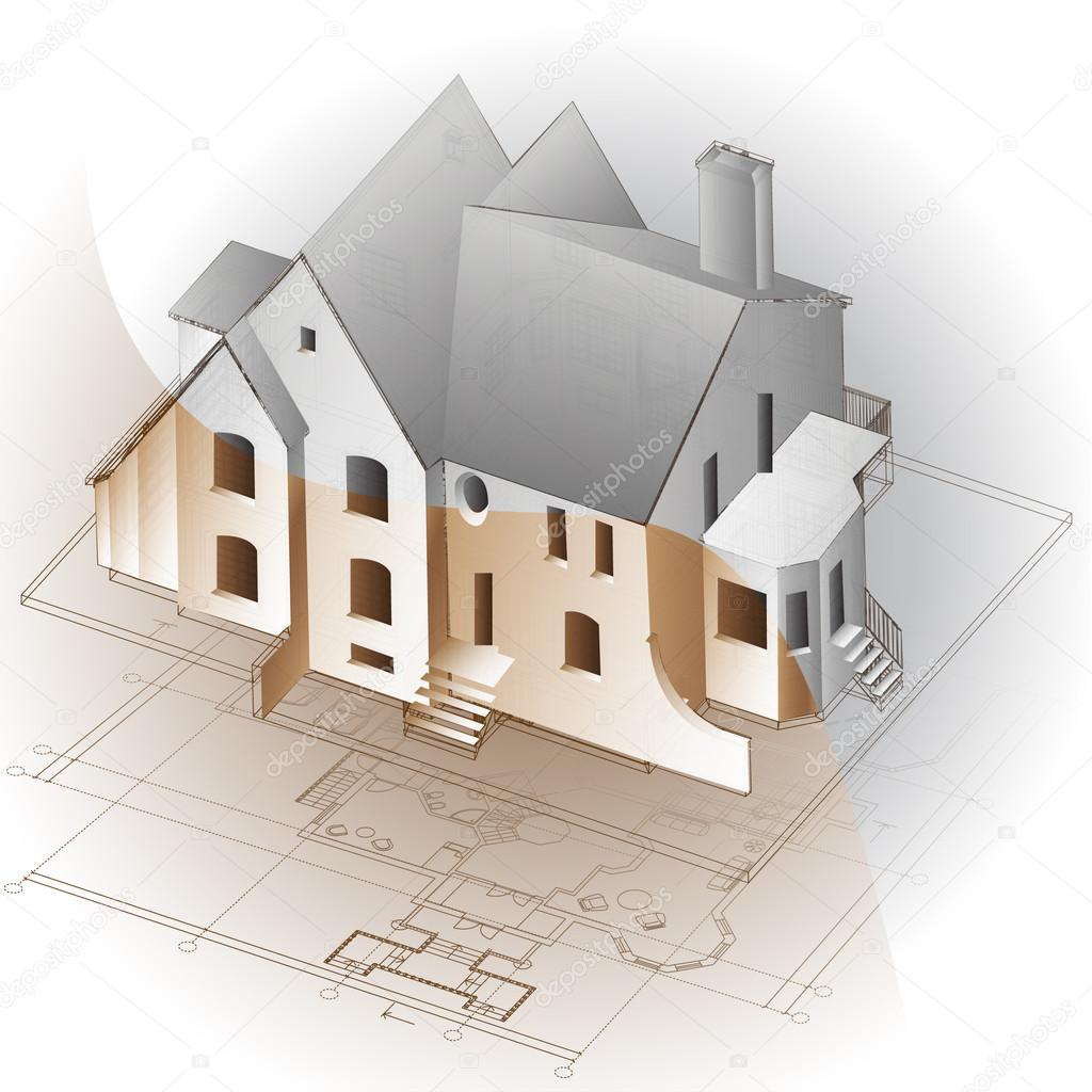 Picture Book Illustration Making An Architectural Model: Architectural Background With Technical Drawings And 3D