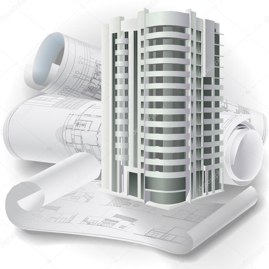 architecture buildings drawings. Architectural Background With Technical Drawings And 3D Building Model \u2014 Stock Vector Architecture Buildings I