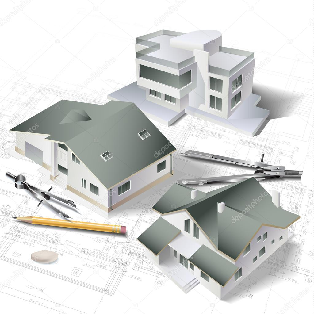 Picture Book Illustration Making An Architectural Model: Architectural Background With A 3D Building Model