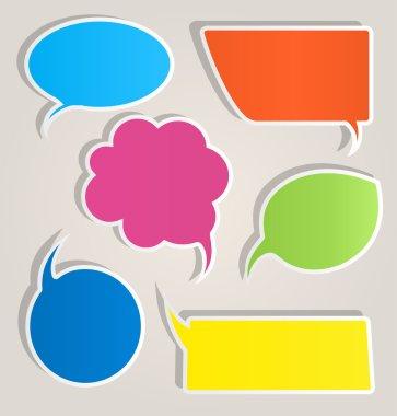 Colorful paper speech bubbles