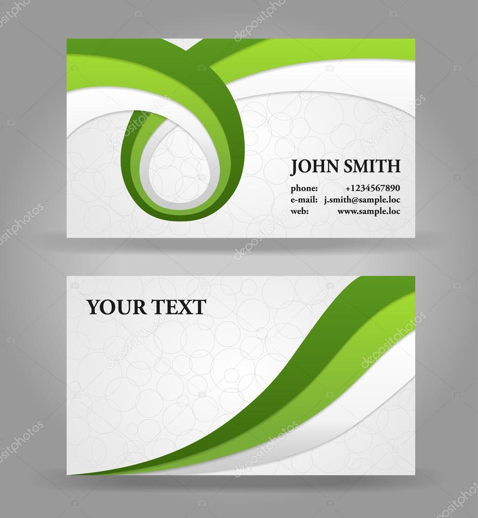 Green and gray modern business card template with ribbons — Stock ...