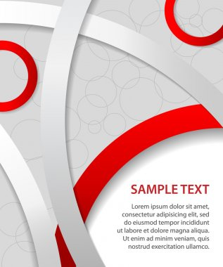 Red business background with rings and circles, vector