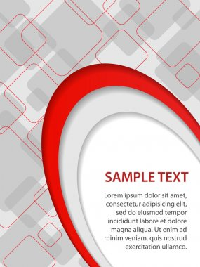 Gray and red business background with curves and rounded squares, vector