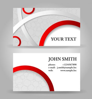 Red and gray business card template, vector