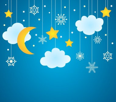 Vector blue background with hanging clouds, moon, stars and snowflakes