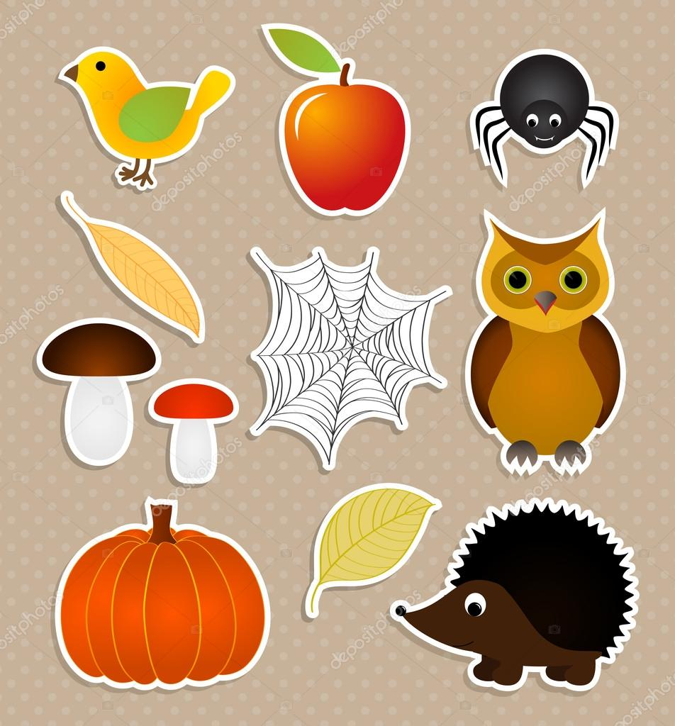 Autumn nature stickers set
