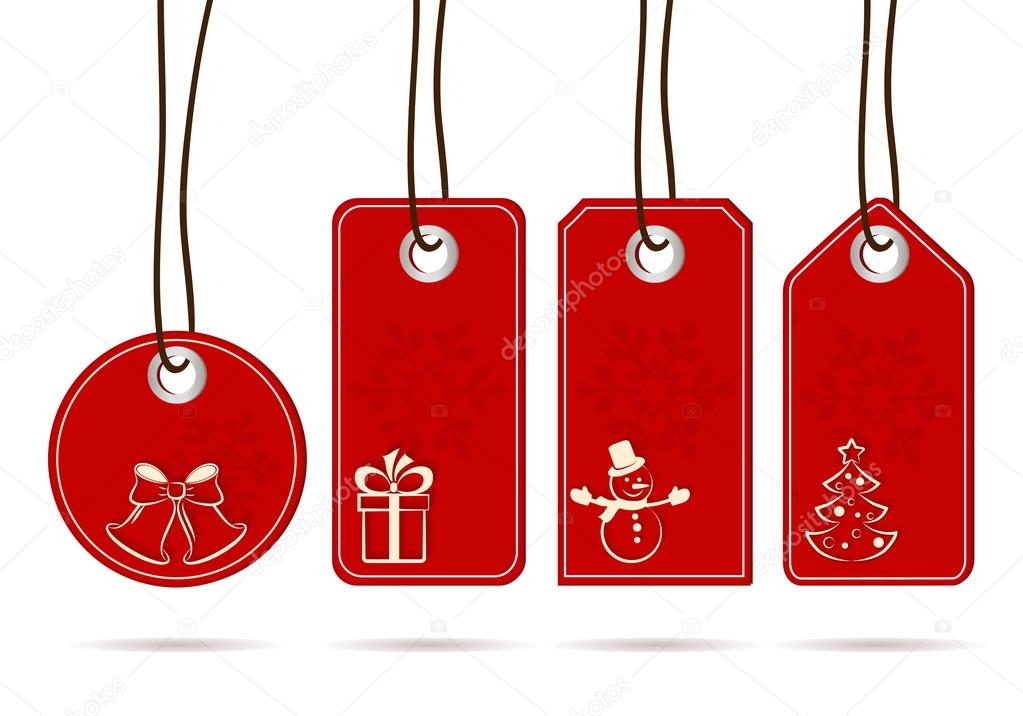 Conjunto De Colgar Etiquetas Rojas Con Motivos De Navidad Blanca - Motivos-navidad
