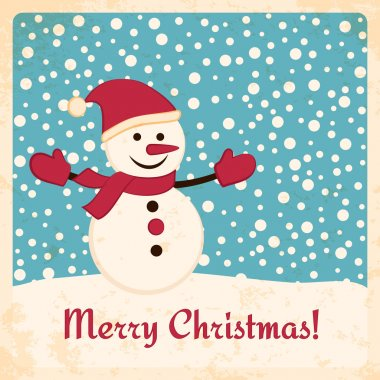 Retro Christmas card with happy snowman on falling snow background