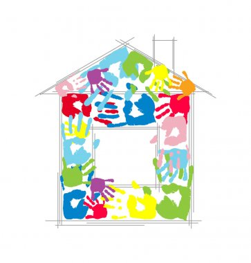 House made from children's and parent's handprints. Vector concept.
