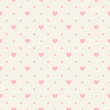 Retro seamless pattern. Pink hearts and dots on beige background clip art vector