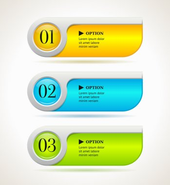Shine horizontal colorful options banners or buttons template. Vector illustration