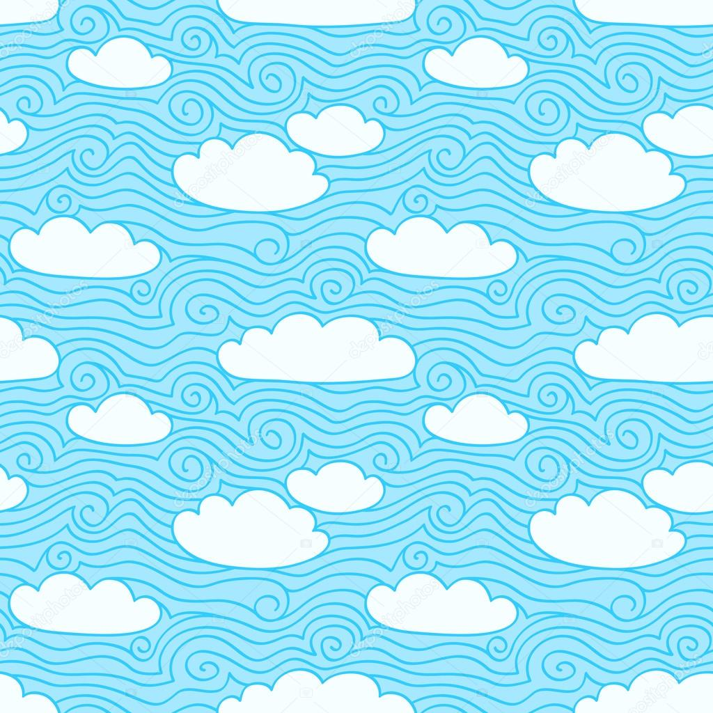 Blue sky with white clouds. Seamless pattern. Hand drawn illustration with swirls