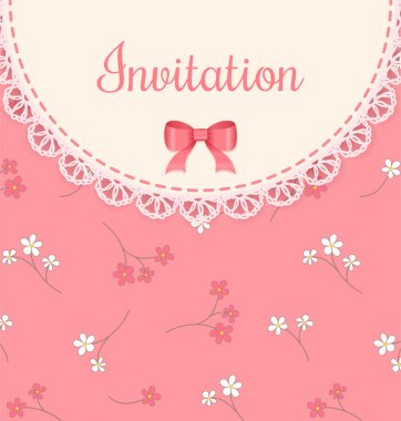 Vector lace frame with bow on pink floral background. Vintage invitation card.