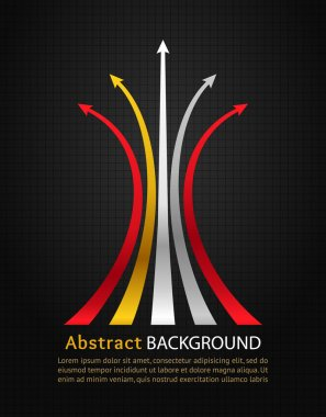 Colored arrows on black background. Vector design template