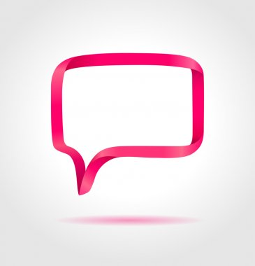Rectangle magenta speech bubble made from bended lines with copy space. Trendy origami style