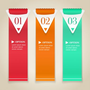 Modern numbered options banners. Vertical color ribbon with arrows. Vector illustration