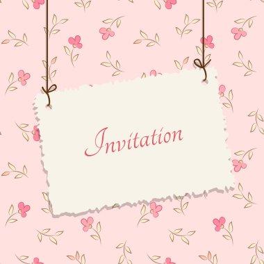 Vintage card design for greeting card, invitation, menu, cover... Flower background - seamless pattern
