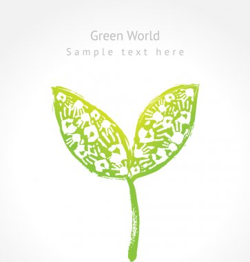 Green sprout with leaves made of handprint and sample text.