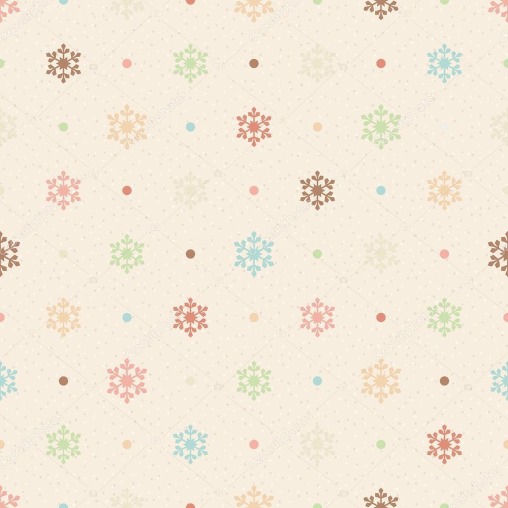 retro de patrones sin fisuras. los copos de nieve color y puntos ...