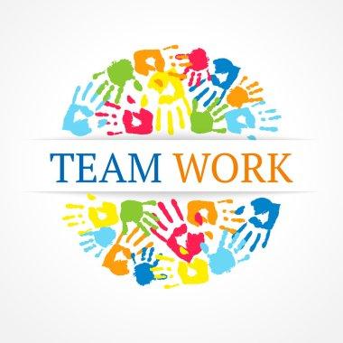 Team work symbol. Vector creative concept