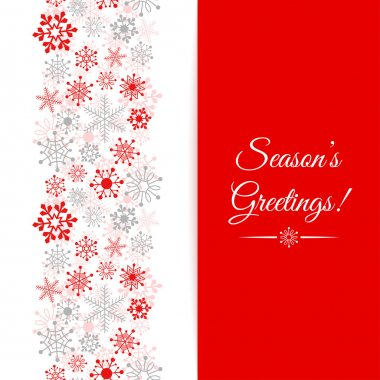 Christmas greetings card. Border Christmas seamless pattern with snowflakes