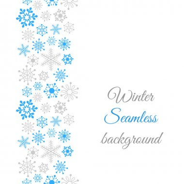 Winter border seamless background with snowflakes