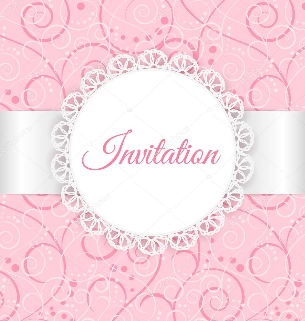 Vector lace frame with silver ribbon on swirl background vintage vector lace frame with silver ribbon on swirl background vintage invitation card stock stopboris Choice Image