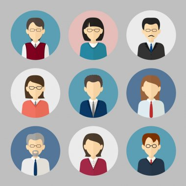 Colorful business people face. Circle icons set in trendy flat s
